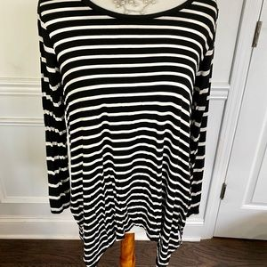 Meraki by Anthro, Black White Striped Tunic Top